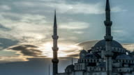 Blue Mosque in Istanbul at Sunset. HD Time Lapse video