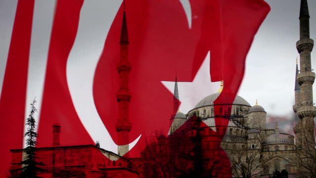 Blue Mosque Turkish Flag Blowing video