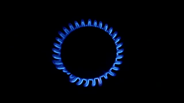 Blue Natural Gas Flames. Slow Motion video