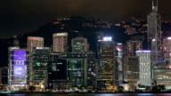 Blue Night in Hong Kong - Central District, Victoria Harbor, Hong Kong Island and Kowloon, Hong Kong. video