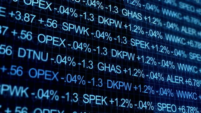 Blue Ominous Stock Market Ticker in futuristic environment video