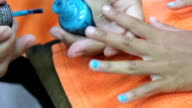 Blue Paint On Nails During Manicure video