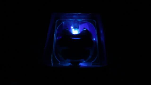 Blue Police siren beacon light flashing. Emergency services video