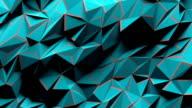 Blue polygonal geometric surface vibrating. video