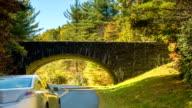 Blue Ridge Parkway Bridge with Traffic in Fall video