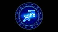 blue sagittarius zodiacal symbol video