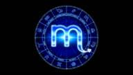 blue scorpio zodiacal symbol video