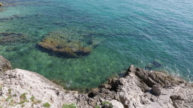 Blue sea and rocks of the French riviera coast, Cap Martin video