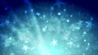 Blue shiny sparkling video animation with stars video