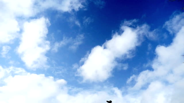 blue sky background with white clouds 4k timelapse video