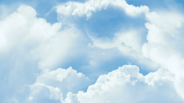 Blue sky background with white clouds. video