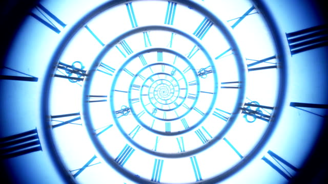 blue spiral retro clock animation video