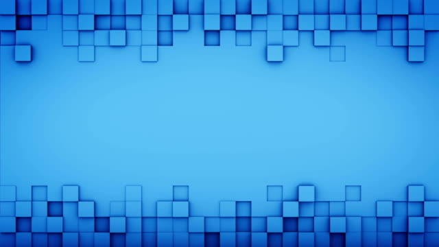 Blue squares and free space 3D render loopable animation video