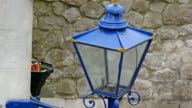 Blue street lamp in the Tower of London video