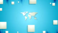Blue tech video animation with map and squares video