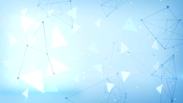 blue technology triangles loopable background video
