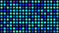 Blue Turquoise and Pink Multicoloured Circles Music Video Background - Grid of Dots with Random Generative Effect on Black Background video