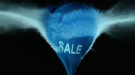 SLO MO blue water filled balloon with sale sign exploding video