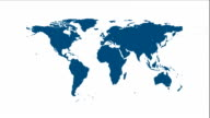 Blue world map video animation with labels video