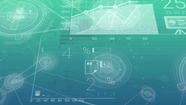 Blue-green Corporate Background With Abstract Elements Of Infographics video