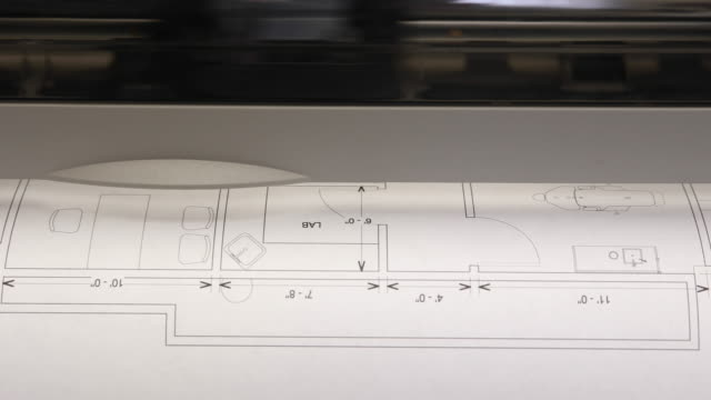 Blueprint Prints Out of Printer Front View video