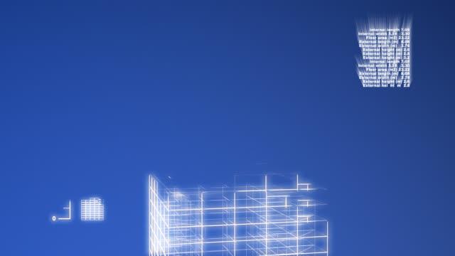 Blueprint skyscraper growing video