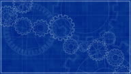 Blueprint with Spinning Gears HD Background Animation video