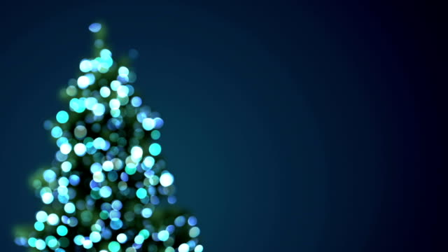 blurred christmas tree blue lights loopable video