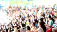 Blurred crowd of spectators on a stadium tribune video