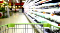 HD Blurred Motion Grocery Cart in the supermarket video