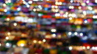 Blurred View of People Bustling in Train Night Market of Bangkok video