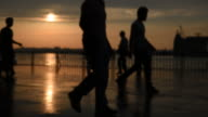Blurry People and The Sunset at The Istanbul Kadikoy video