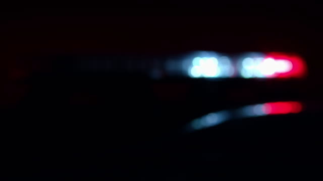 Blurry police car lights in the night video
