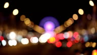 Blurry View on Champs Elysee in Paris with cars lights and Bokeh video