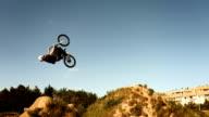 HD SLOW MOTION: Bmx Rider Doing Backflipping Dirt Jump video