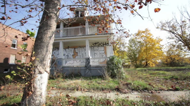 Boarded up houses in Detroit, USA video