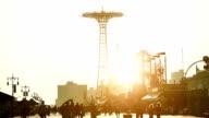 Boardwalk at sunset in Coney Island video