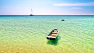 Boat and clear sea water video
