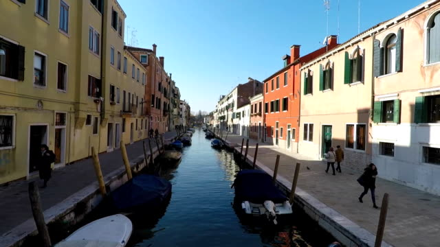 Boat canal in Venice, Italy. City view video