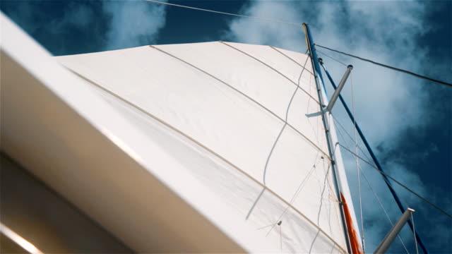 Boat catamaran sail at caribbean sea with clean blue sky video