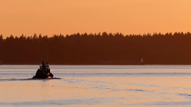 Boat Comes Into View In Sunset Nova Scotia video