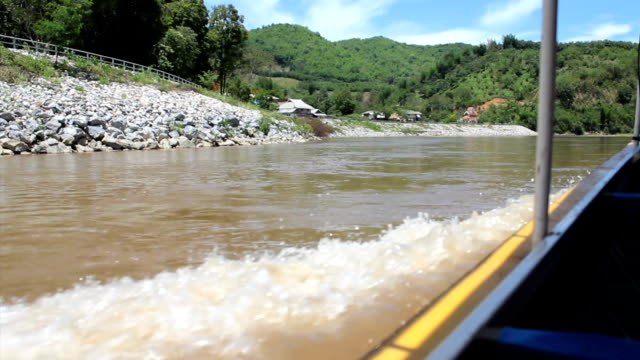 Boat Cruising Down River In Northern Thailand video