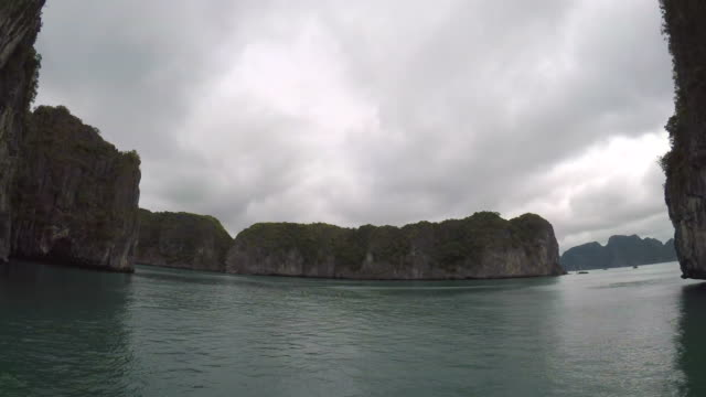 Boat Cruising in the Sea of Halong Bay in Vietnam video