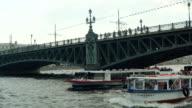 Boat Floating Under The Bridge video