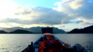 boat in Cheow Lan lake, Thailand video