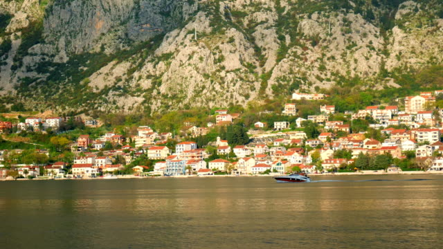 Boat in the Bay of Kotor. Montenegro, the water of the Adriatic video