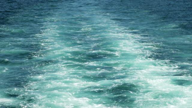 Boat is Floating on Leaves Trail in Bosphorus video