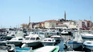 Boat marina and promenade in Rovinj video