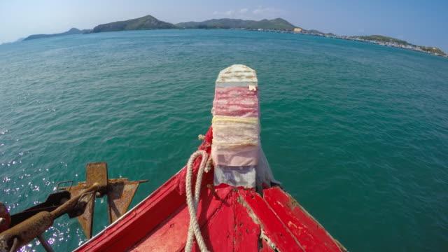 WS T/L POV Boat navigates from Koh Samae San Island to Sattahip District, Chonburi, Thailand video