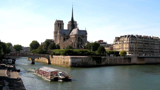 Boat on Seine River in Paris video